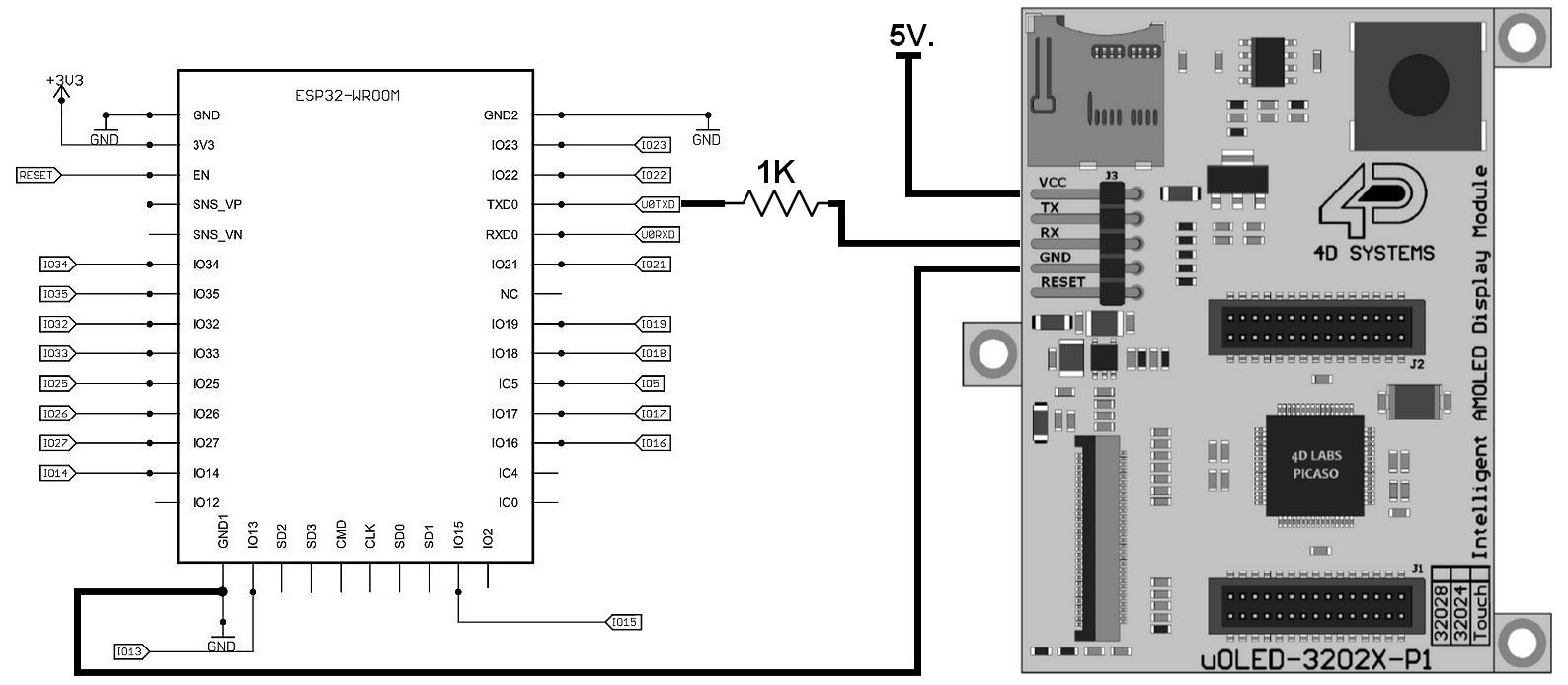 Figura 2: lo schema elettrico del collegamento tra ESPertino e il display OLED