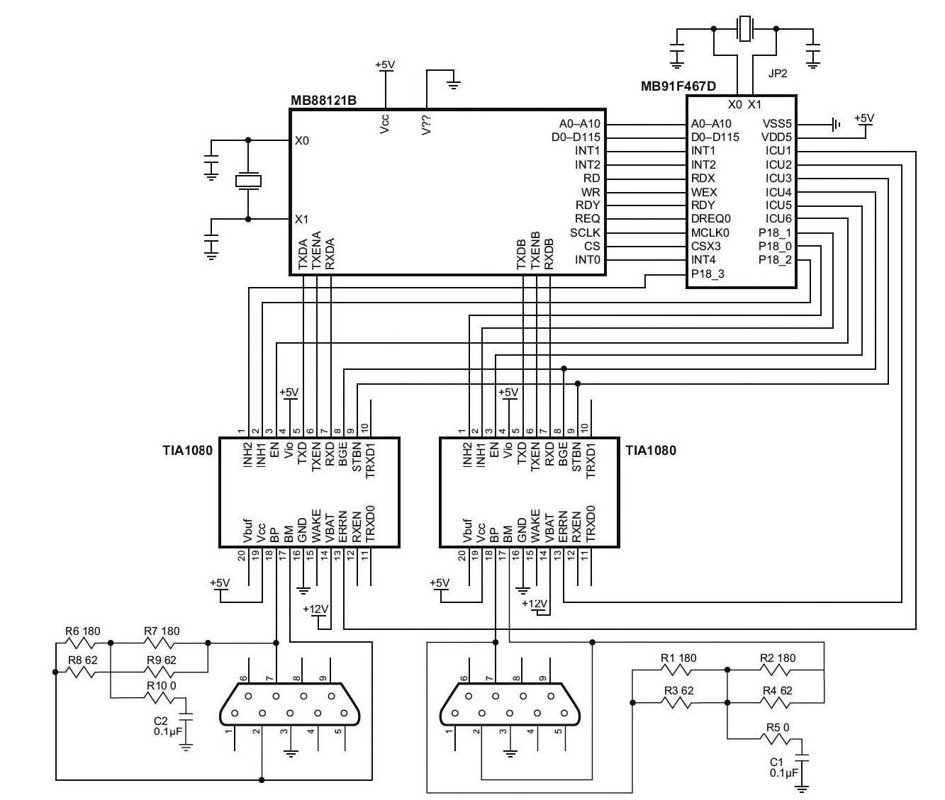 Figura 8: schematico di un semplice ed economico nodo FlexRay utilizzando il micro MCU MB91F467D e il controller FlexRay MB88121B.