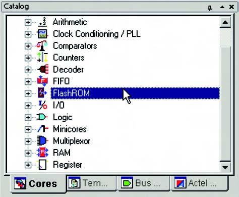 Figura 9: selezione del componente FlashROM dal tab Cores.