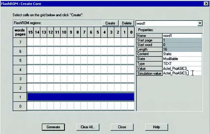 Figura 10: selezione della pagina di memorie e definizione dei parametri per il componente flashROM.