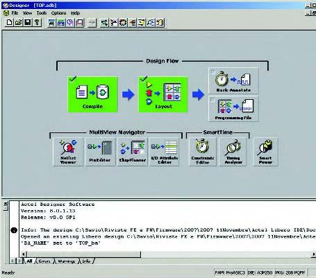 Figura 15: a destra, tramite il Designer è possibile effettuare l'operazione di Place&Route.