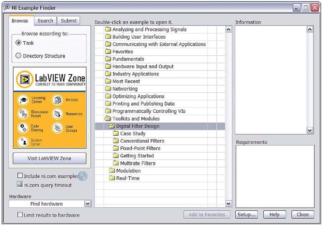 Figura 13: NI Example Finder consente di selezionare l'esempio che più si avvicina alla propria applicazione