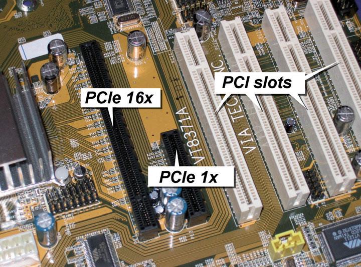 Figura 2: confronto tra i connettori PCI e PCI Express. La riduzione delle dimensioni e l'aumento della banda di PCIe è stato possibile grazie all'architettura completamente rivisitata che prevede una connessione duplex seriale anziché un bus parallelo.