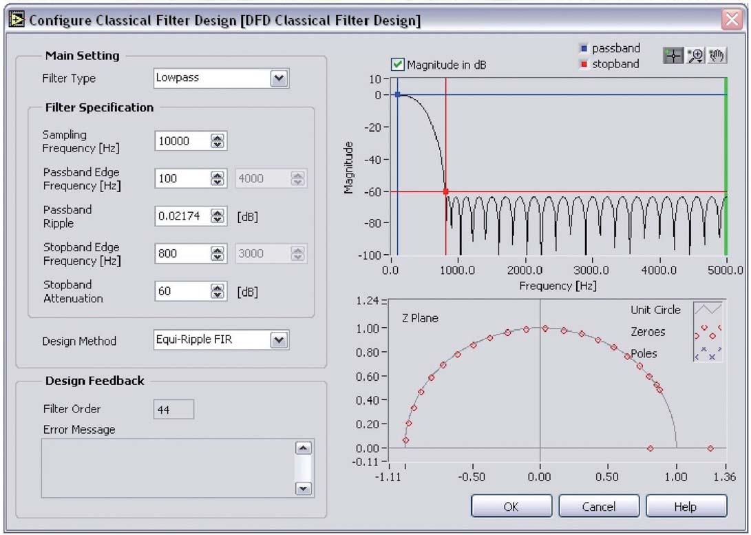 Figura 7: finestra Classical Filter Design in cui è possibile inserire i parametri di progetto del filtro.