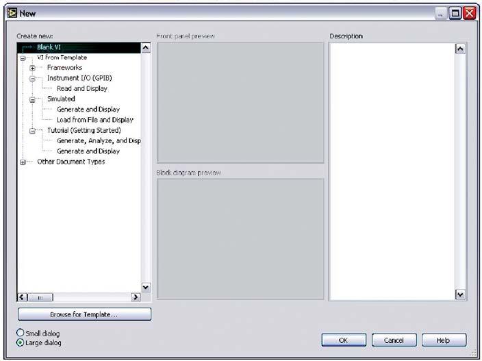 Figura 2: finestra di dialogo di LabVIEW da cui è possibile selezionare il tipo di progetto da creare.