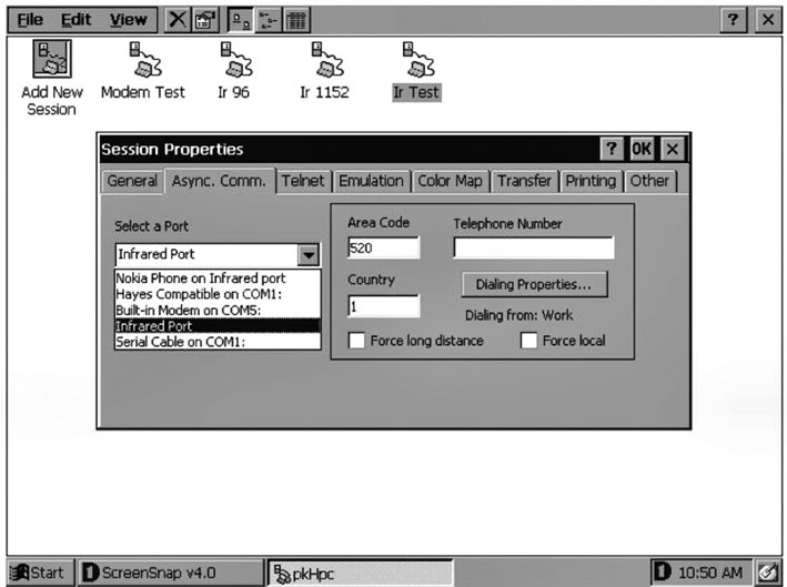 Figura 7: il software pkHpc è un terminale client da utilizzare su PDA dotati di Windows CE. Tale software consente di interfacciare la propria applicazione embedded ad un palmare grazie al tramite del chip MCP2150.