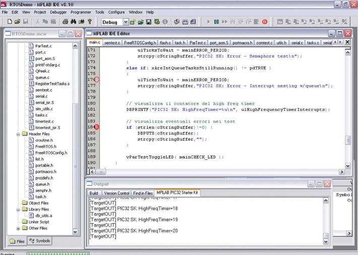Figura 2: FreeRTOS eseguito in MPLAB. Si noti l'output della utility di debug.