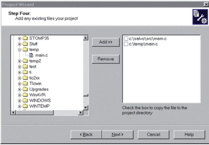 Figura 3: aggiunta dei file al progetto.