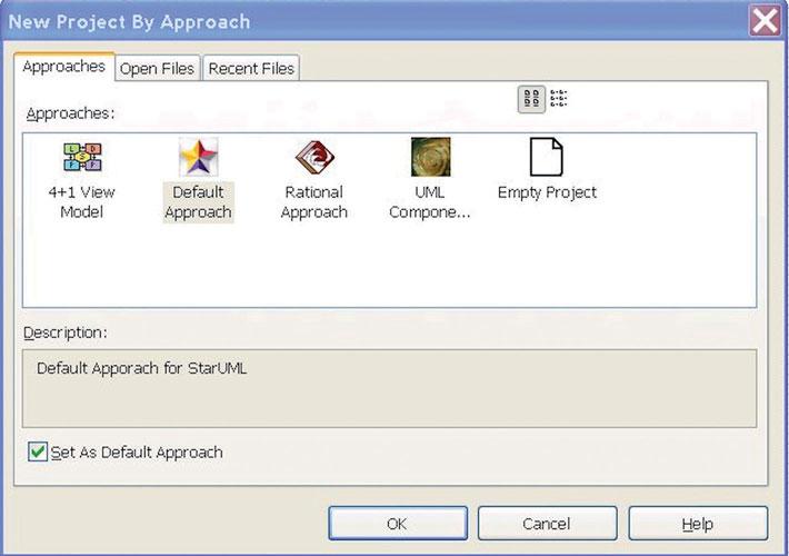 Figura 2: avviando il software StartUML è mostrata la finestra che permette di selezionare il tipo di progetto da creare.
