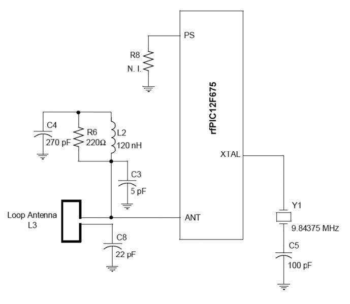 Figura 4: connessioni esterne all'rfPIC per la circuiteria RF