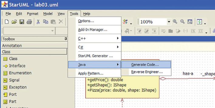 Figura 3: generazione del codice Java.