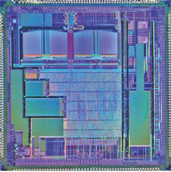 Figura 4: silicio del primo microcircuito Fujitsu con FRAM incorporata (MB95RV100).