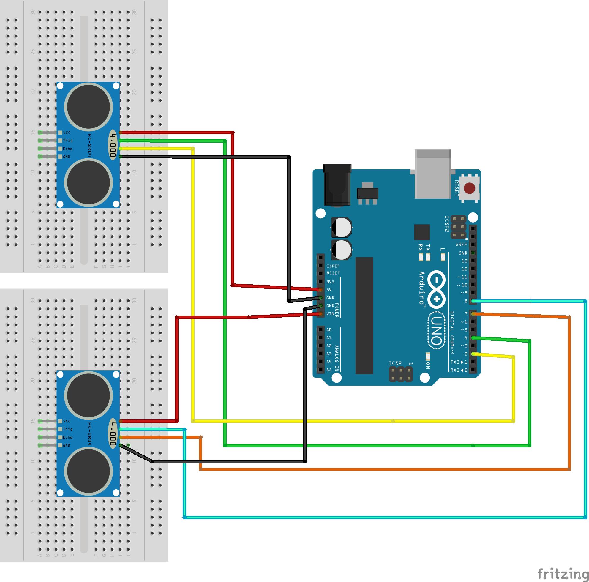 Schema circuitale del Safety Tutor System, collegamenti sensori ad ultrasuoni con Arduino UNO.
