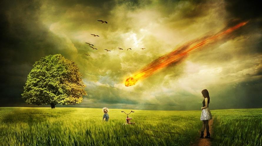Figura 1: foto immaginaria di un grosso meteorite che sta per colpire la Terra