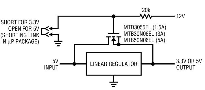 Figura 3: regolatore a 3.3 V con circuito bypass a 5 V