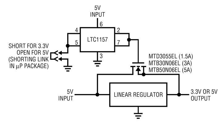 Figura 4: regolatore a 3.3 V con LTC1157.