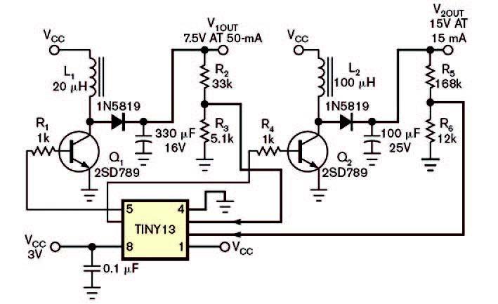Figura 2: il microcontrollore ATMEL Tiny13 AVR gestisce due convertitore boost utilizzando i canali ADC e i PWM interni.