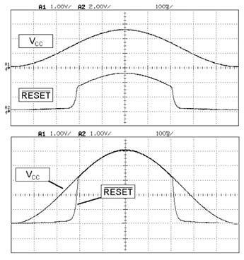 Figura 6: Forme d'onda sull'oscilloscopio del segnale di reset al variare della VCC per il circuito di figura 5.