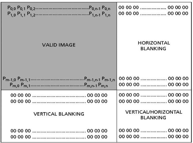 """Figura 2: """"Read Out"""" del sensore con in evidenza i pixel validi (fonte www.aptina.com)."""