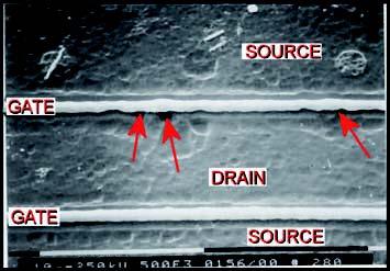 Figure 2: esempi di danni di tipo permanente provocati da ESD.