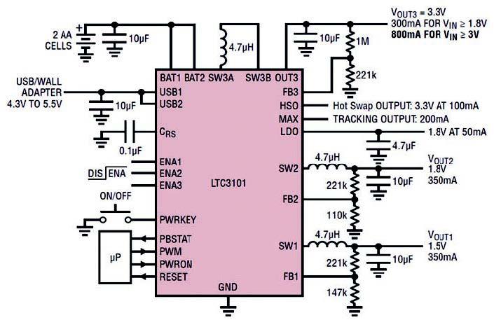 Figura 4: esempio d'applicazione dell'LT3101.