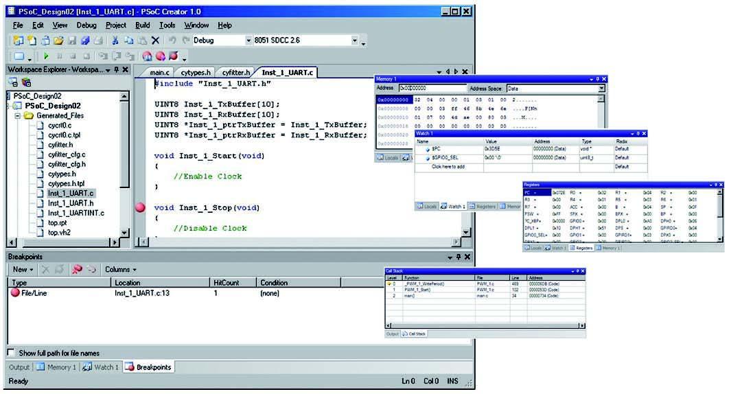Figura 4: il Debugger integrato in PSoC Creator