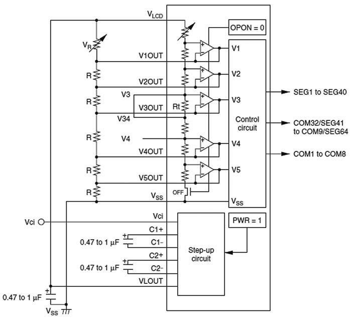 Figura 4: impiego del circuito step-up 3x interno e di una rete di resistori di bleeder esterni con il controller LCD dei micro H8/3857.
