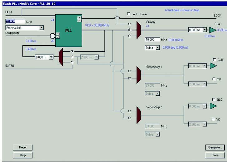 Figura 4: la finestra di configurazione grafica della periferica PLL.