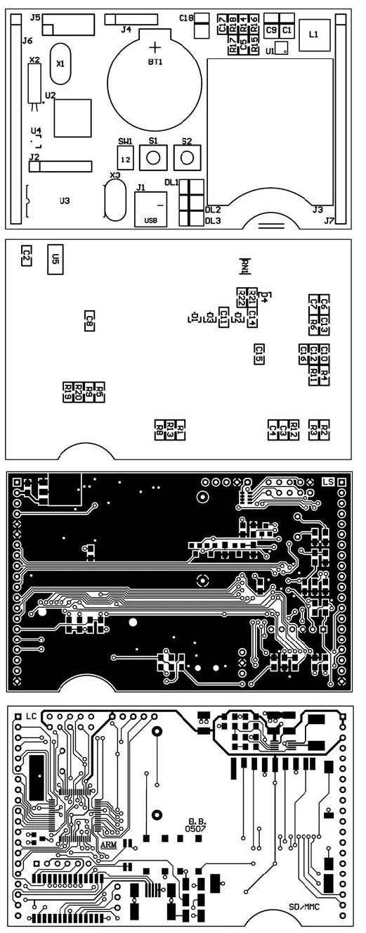 Figura 4: layout di montaggio e piste del circuito stampato.