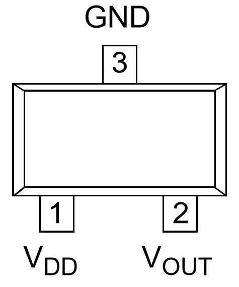 Figura 1: pinout del sensore di temperatura MCP9700