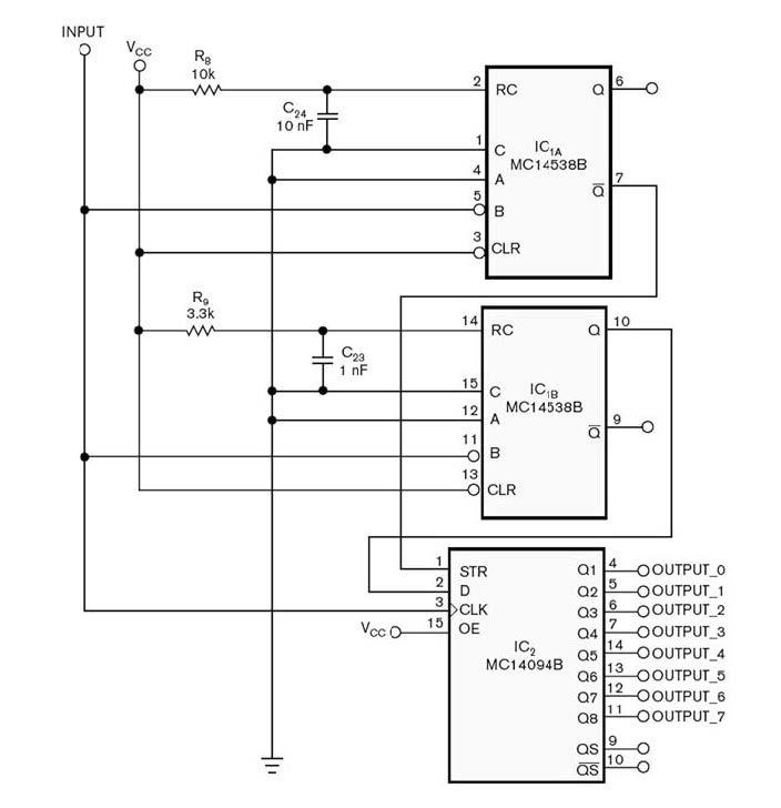 Figura 5: schema circuitale modificato per ottenere l'aggiornamento simultaneo delle uscite.