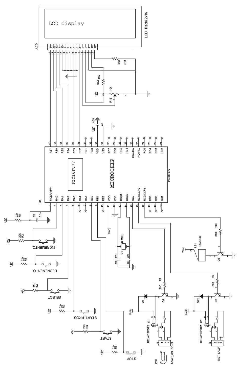 Figura 1: schema circuitale che implementa il timer mediante l'impiego del controllore Microchip PIC16F877.
