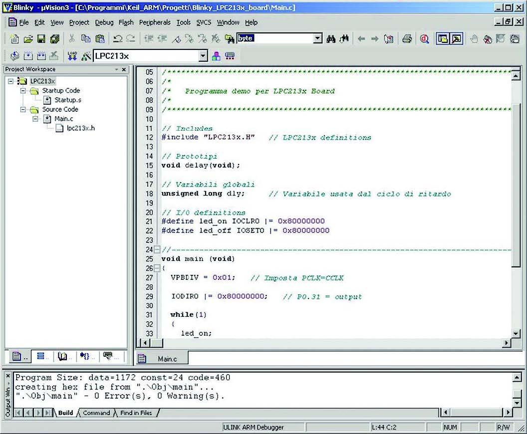 Figura 8: schermata del uVision.