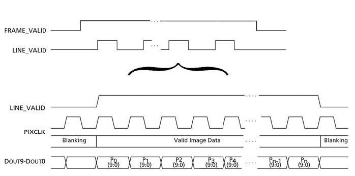 Figura 1: segnali di sincronismo di un sensore CMOS (fonte www.aptina.com).