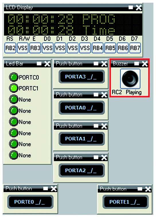 Figura 9: timer giunto alla fine della temporizzazione ed eccitazione del buzzer