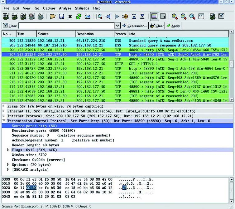 Figura 7: una screenshot di Wireshark