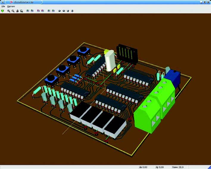 Figura 13: vista 3D di Kicad