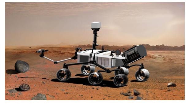 Screen della missione, tratto da un'ambiente di realtà virtuale, nel mentre si accinge all'esplorazione di Marte.