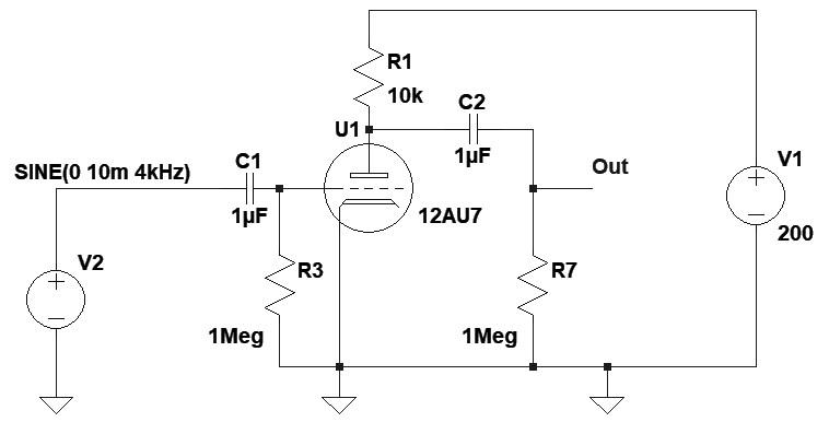 Figura 4: lo schema elettrico dell'amplificatore a valvola