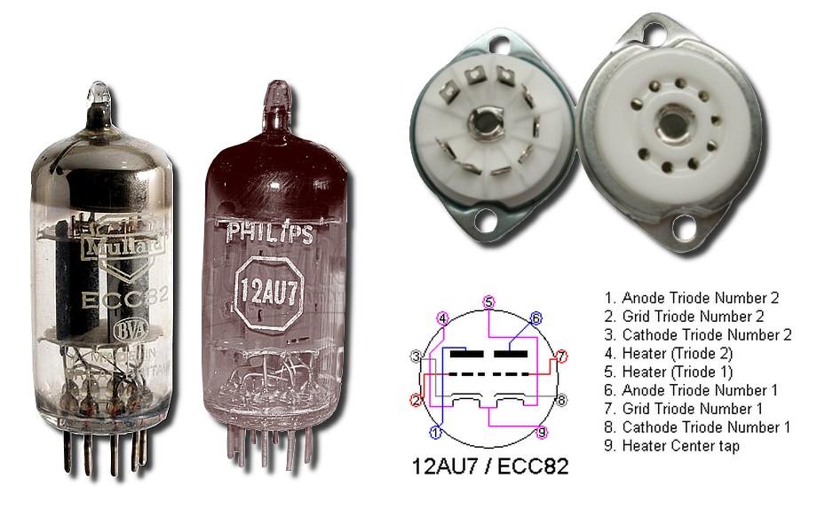 Figura 1: le valvole ECC82, 12AU7, lo zoccolo noval B9A e il pinout