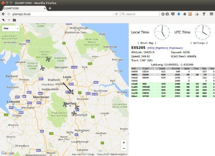 Figura 4: applicazione Web per la visualizzazione del traffico aereo