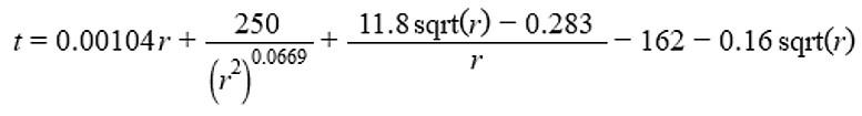 Figura 4: una delle tante formule per la conversione della resistenza in temperatura