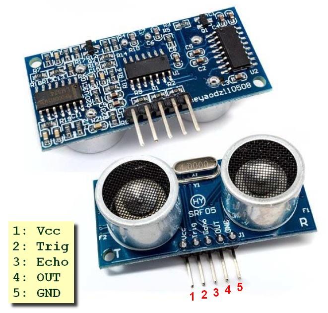Figura 1: il sensore di distanza HY-srf05 con il relativo pinout