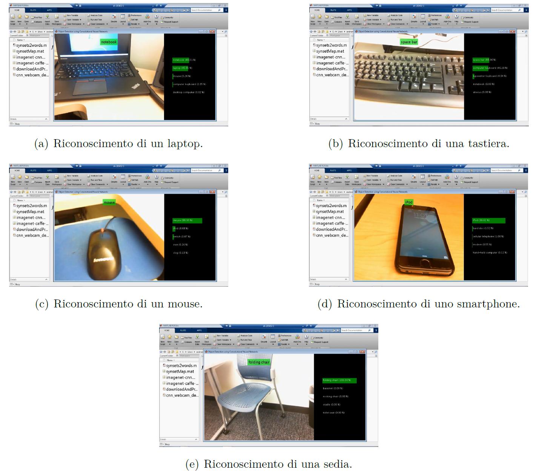 Screenshots tratti dal video che illustra il funzionamento dell'algoritmo di deep learning nel riconoscimento di oggetti tipici di un ufficio.