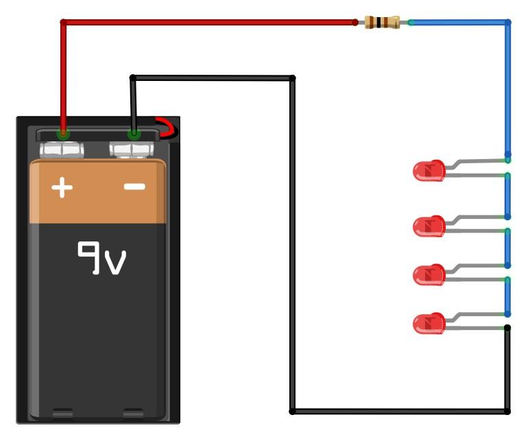 Figura 3: il cablaggio di quattro diodi Led in serie