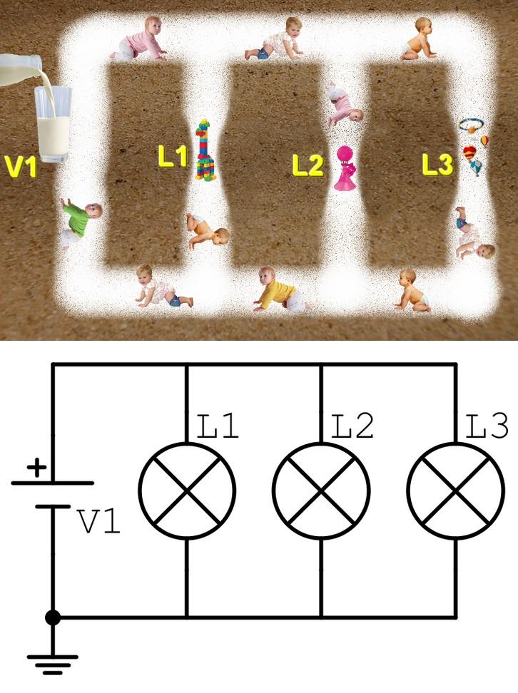 Figura 2: comprendere il collegamento in parallelo in un circuito elettrico