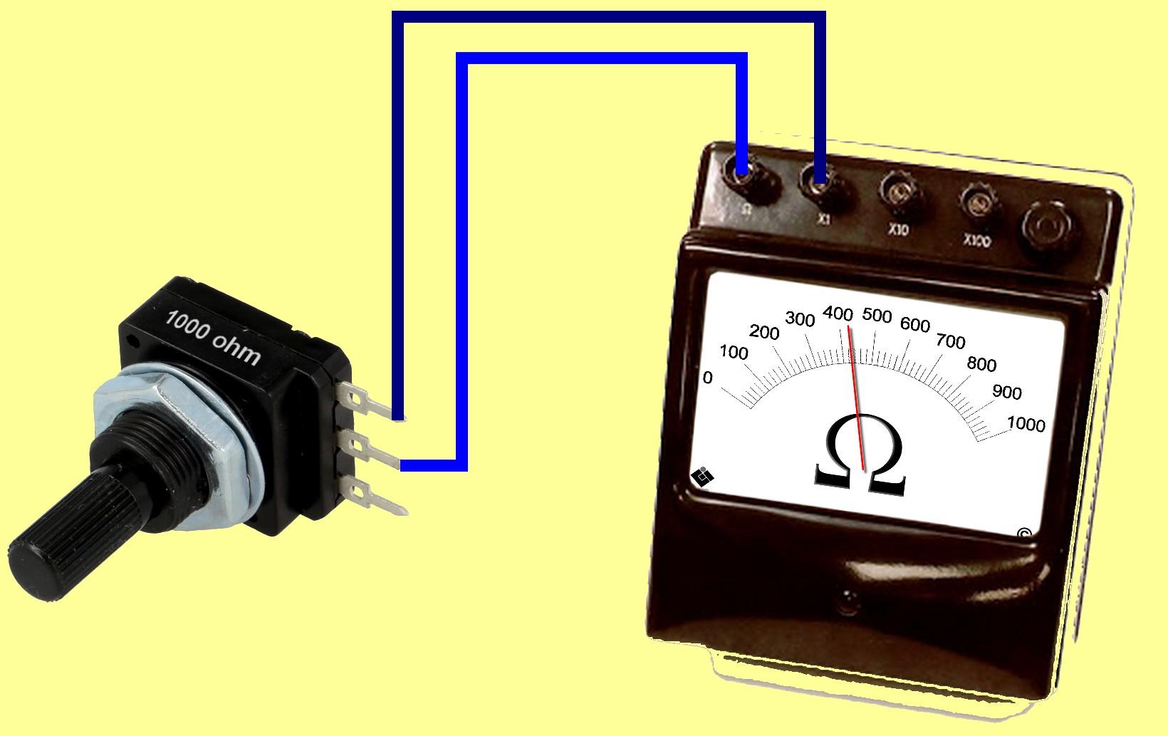 Figura 4: è possibile utilizzare solo due terminali di un potenziometro, al fine di ottenere una resistenza variabile