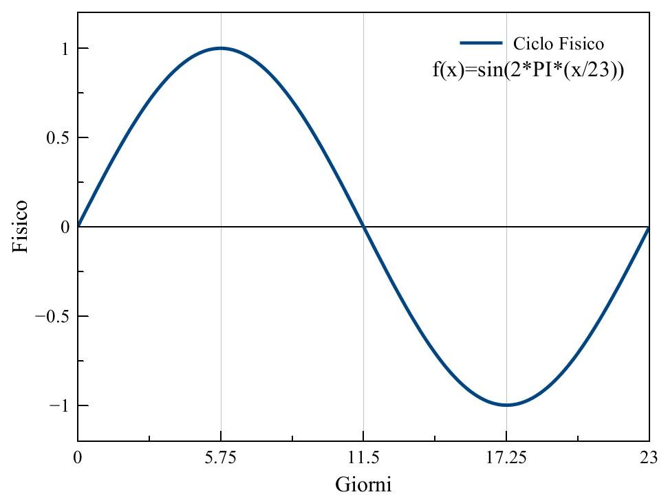Figura 2: la formula sin(2*PI*(x/23)) descrive il grafico del ciclo fisico, con un periodo di 23 giorni
