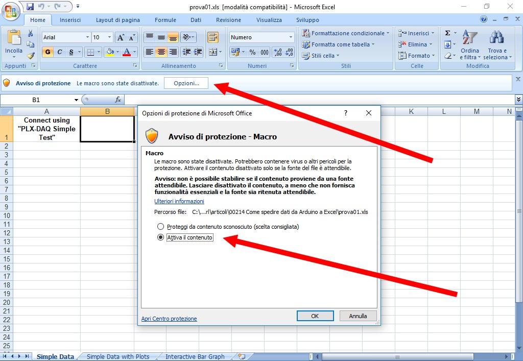 Figura 2: per utilizzare l'Add-on occorre abilitare le macro del foglio elettronico