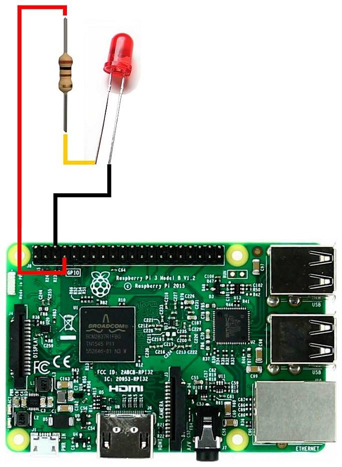 Figura 2: il diodo Led è collegato alla porta GPIO4 del Raspberry Pi 3 modello B